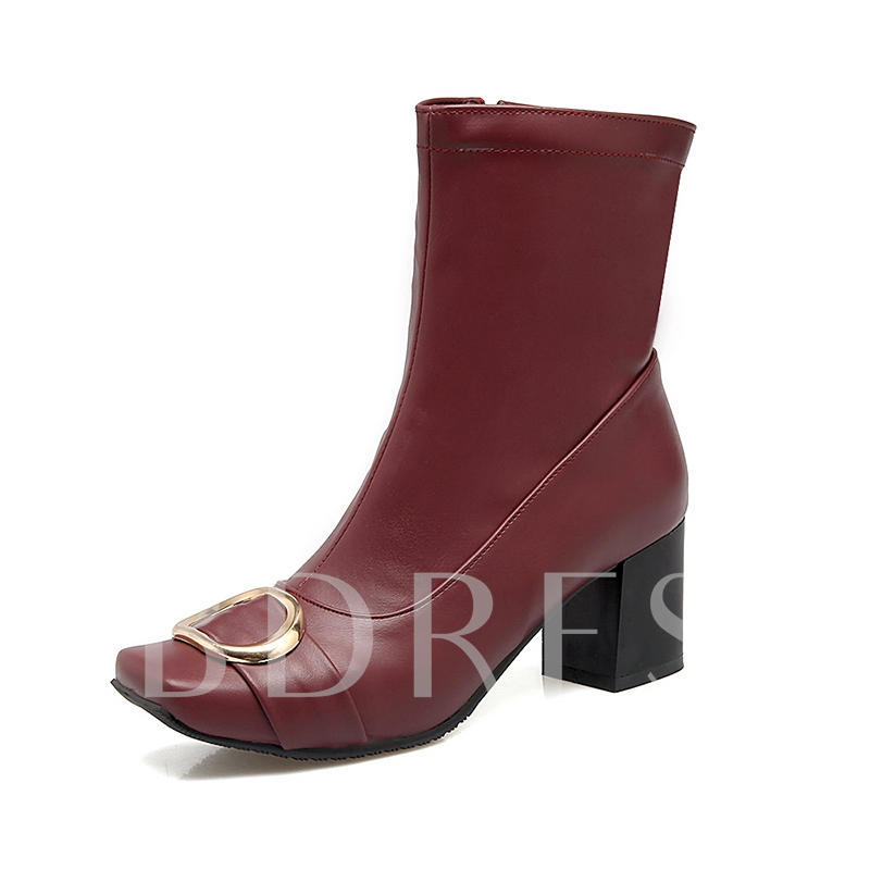 Square Toe Metal Decoration Ankle Boots for Women
