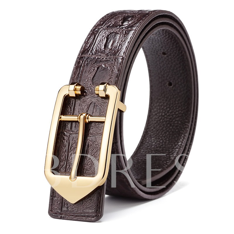 Alloy Crocodile Smooth Buckle Youth Men's Belts