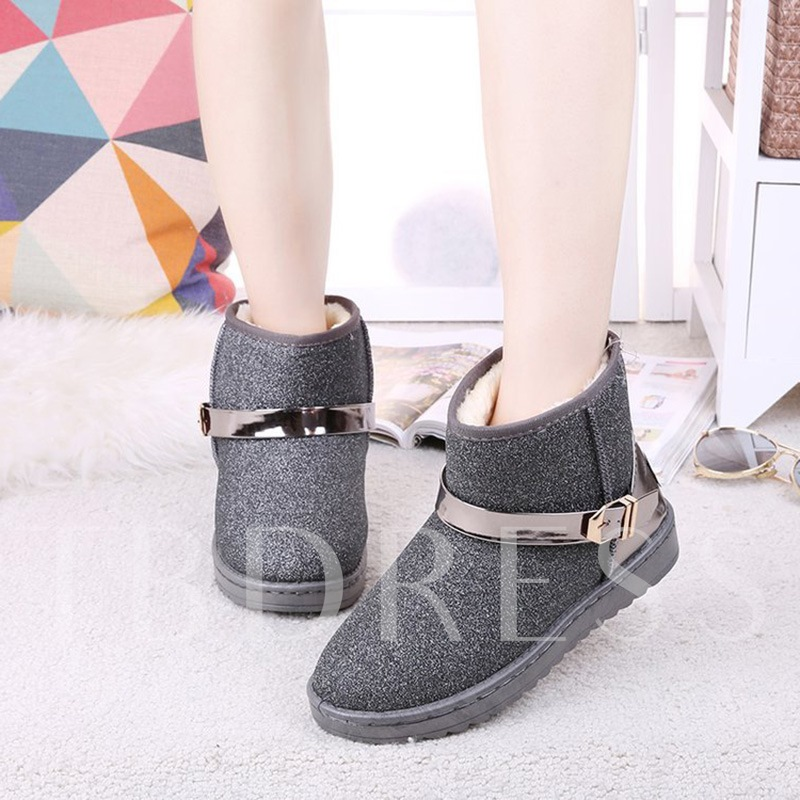 Plush Lining Buckle Women's Flat With Snow Boots