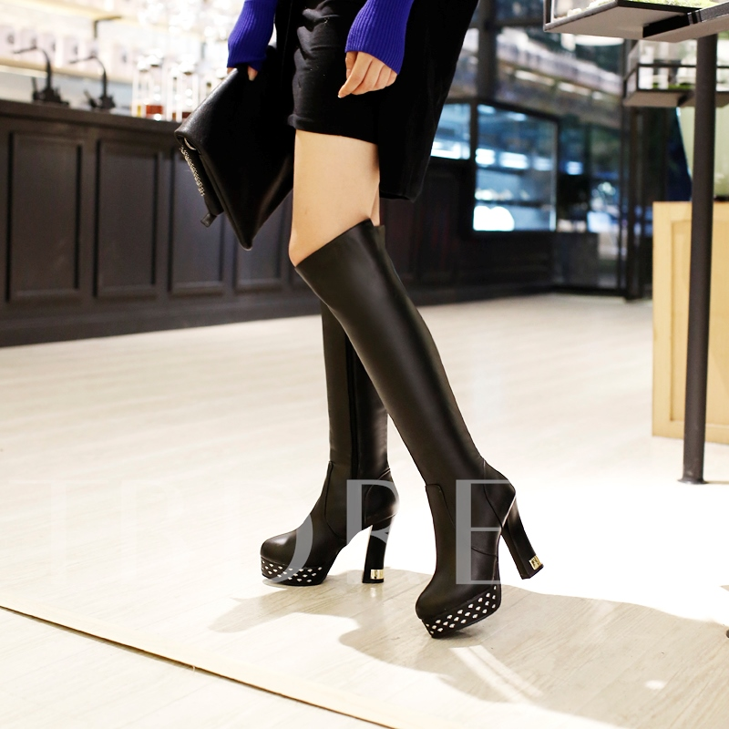 Side Zipper Platform with Sequin Women's Nubuck Leather Boots