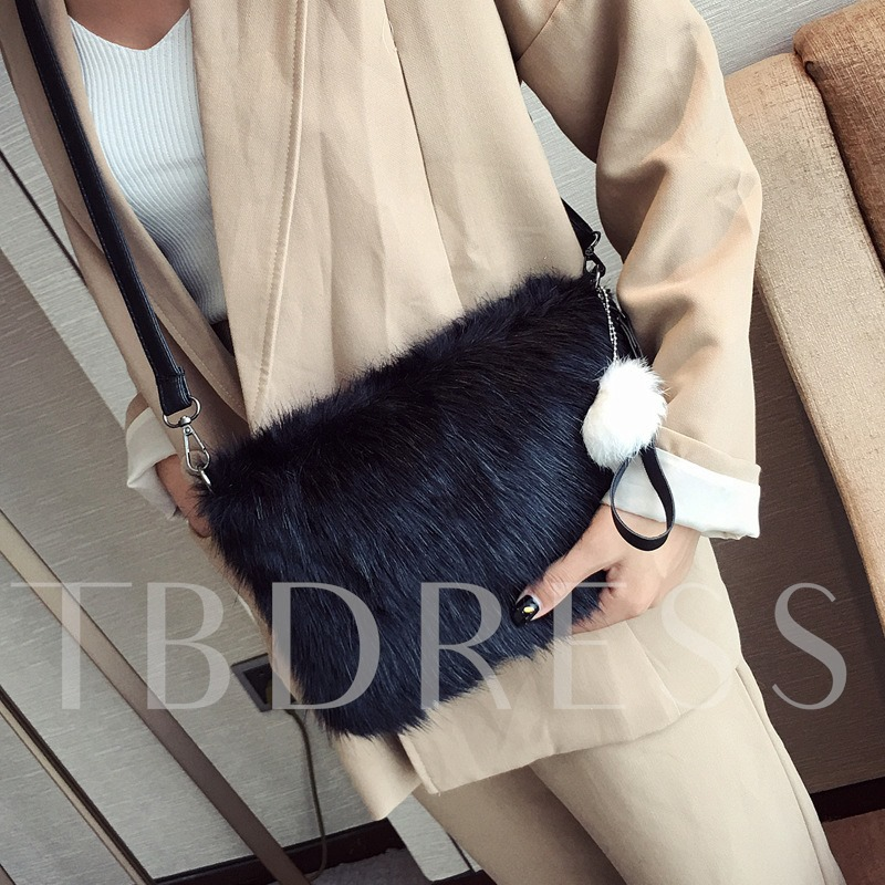 Casual Solid Color Plush Envelope Cross Body Bag