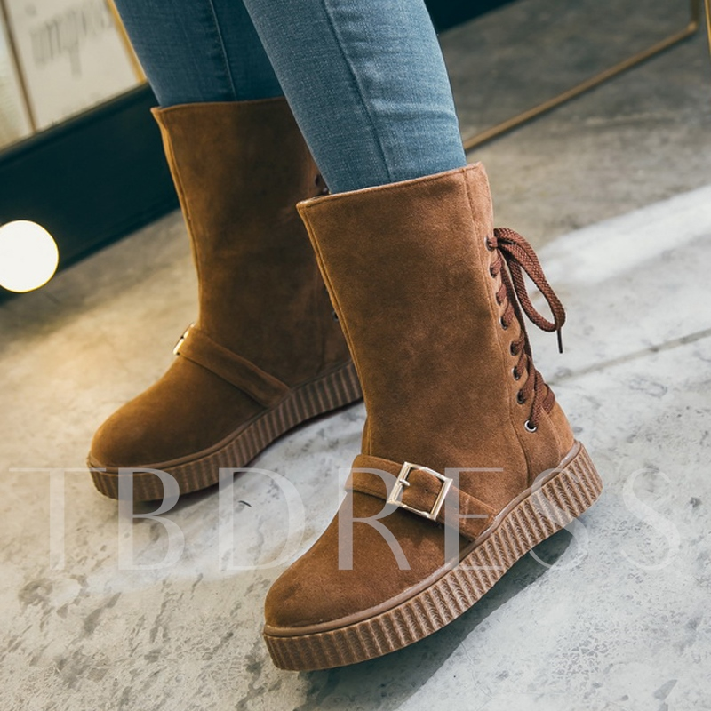 Lace Up Back Buckle Women's Flat With Shoes