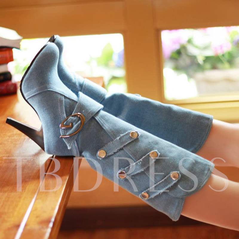 Denim High Heel Slip On Women's Half Boots
