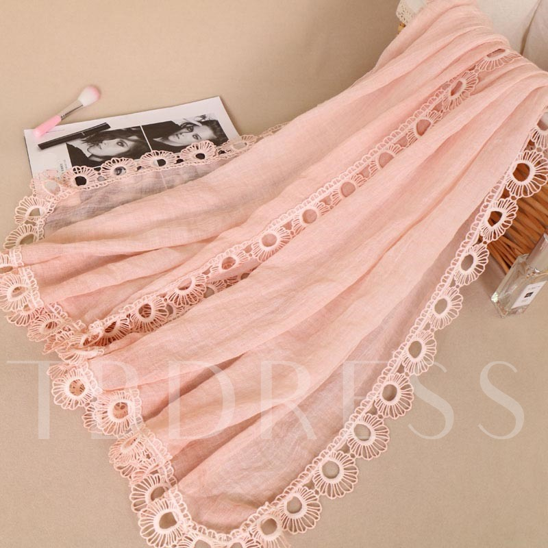 Lace Hollow Out Tie-Dye Solid Color Cotton Scarfs
