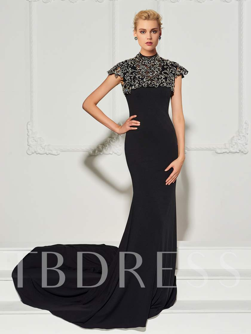 Mermaid Beading Button Scoop Sweep Train Court Train Evening Dress