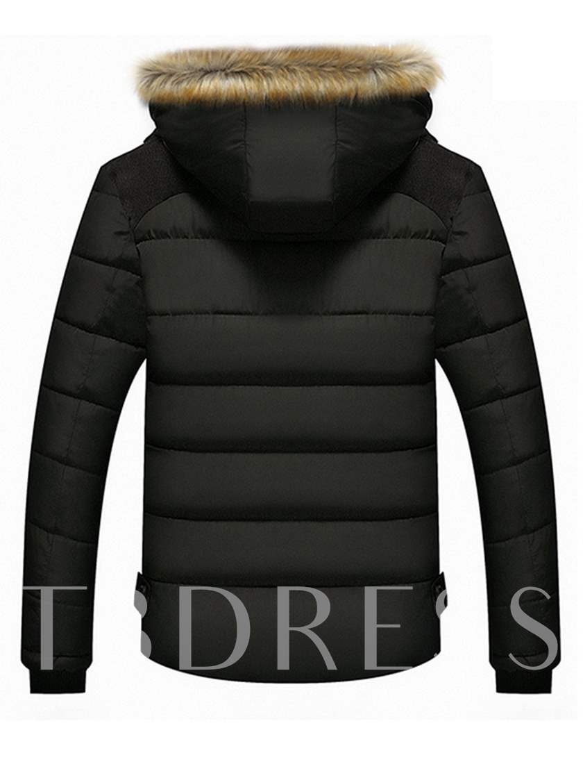 Korean Style Faux Fur Hooded Warm Plain Men's Winter Coat