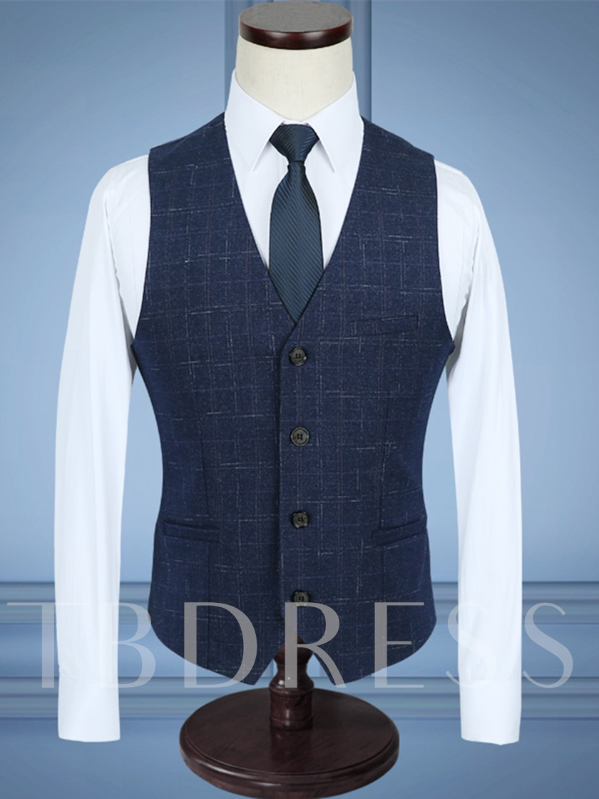 Notched Collar A Three-Piece Solid Color Slim Fit Sanding Men's Dress Suit