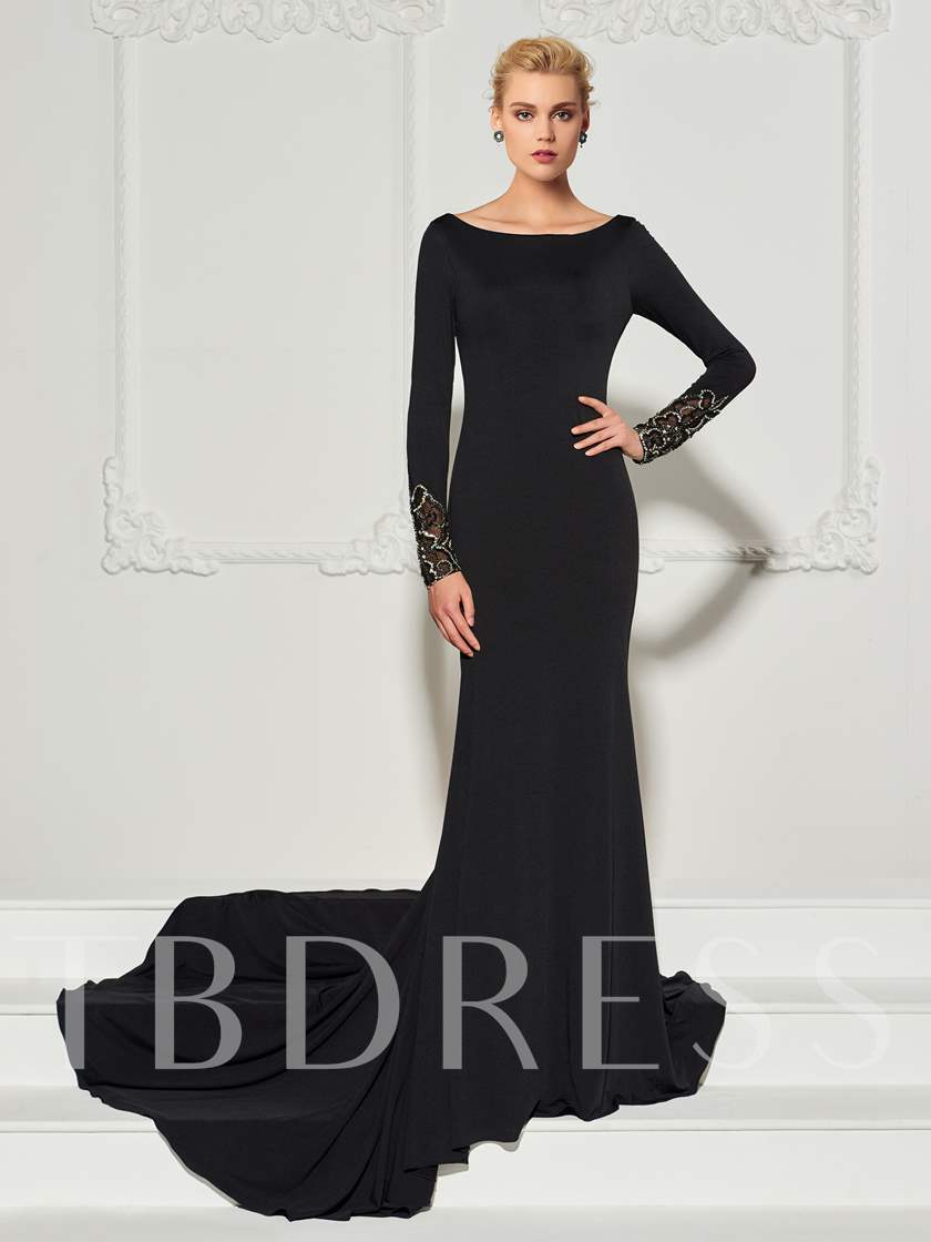 Long Sleeves Appliques Scoop Backless Mermaid Court Train Evening Dress