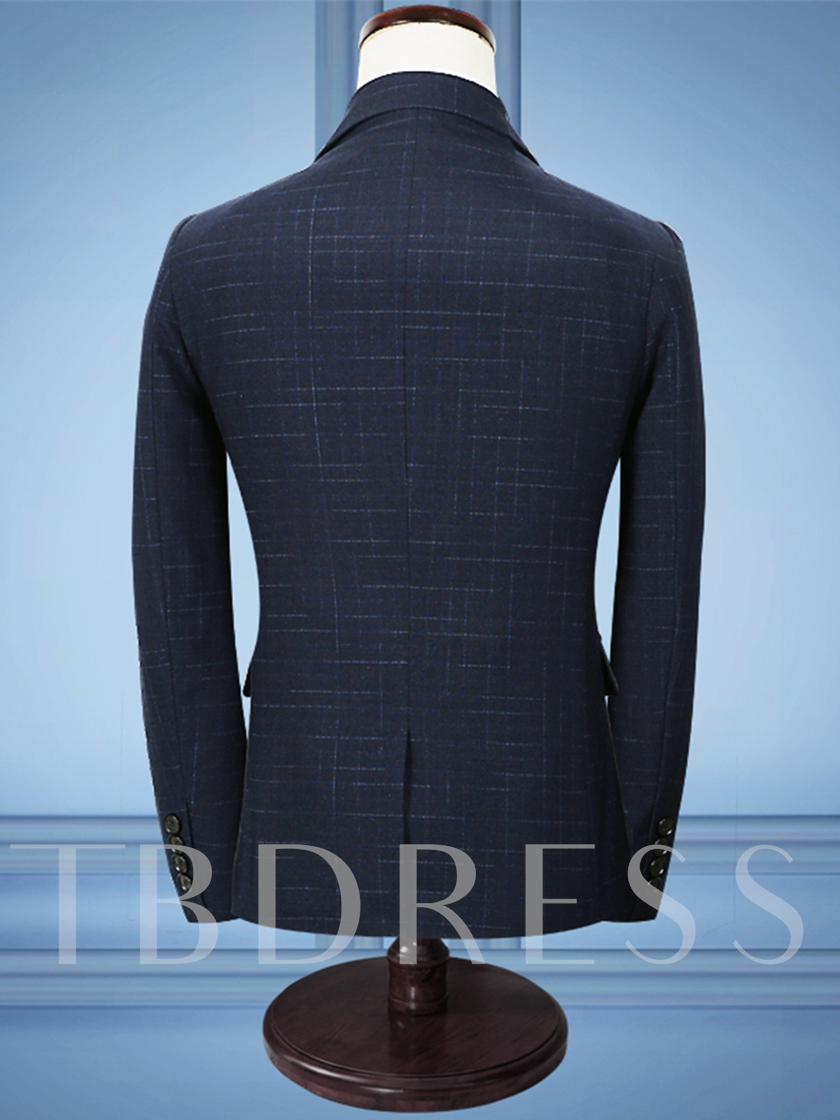 Notched Collar One Button Solid Color Slim Fit Men's Dress Suit