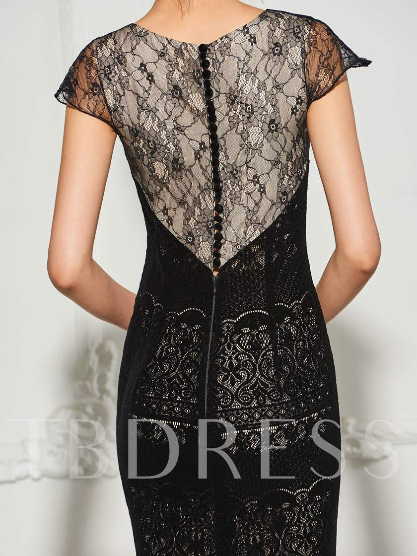 Trumpet Lace Scoop Cap Sleeves Button Court Train Evening Dress