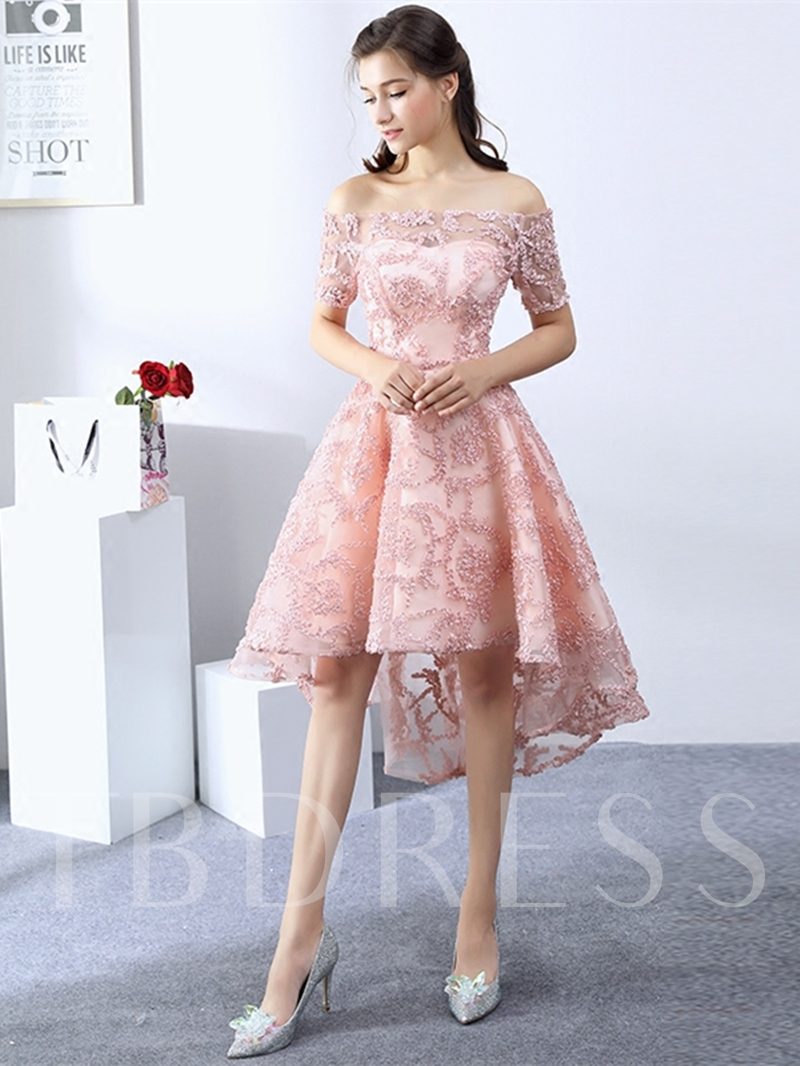 A-Line Off-the-Shoulder Lace Short Sleeves Asymmetry Homecoming Dress