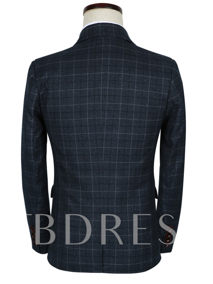 Notched Collar Blue A Three-Piece Plaid Printed Slim Fit Men's Dress Suit