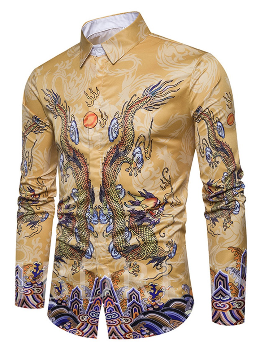Lapel Ethnic Dragon Print Slim Men's Shirt