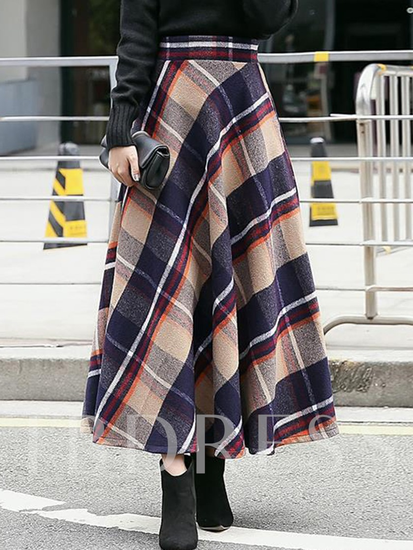 Expansion Plaid Ankle-Length Women's Skirt