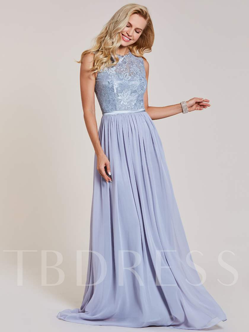 Scoop Neck Sashes Lace A Line Evening Dress