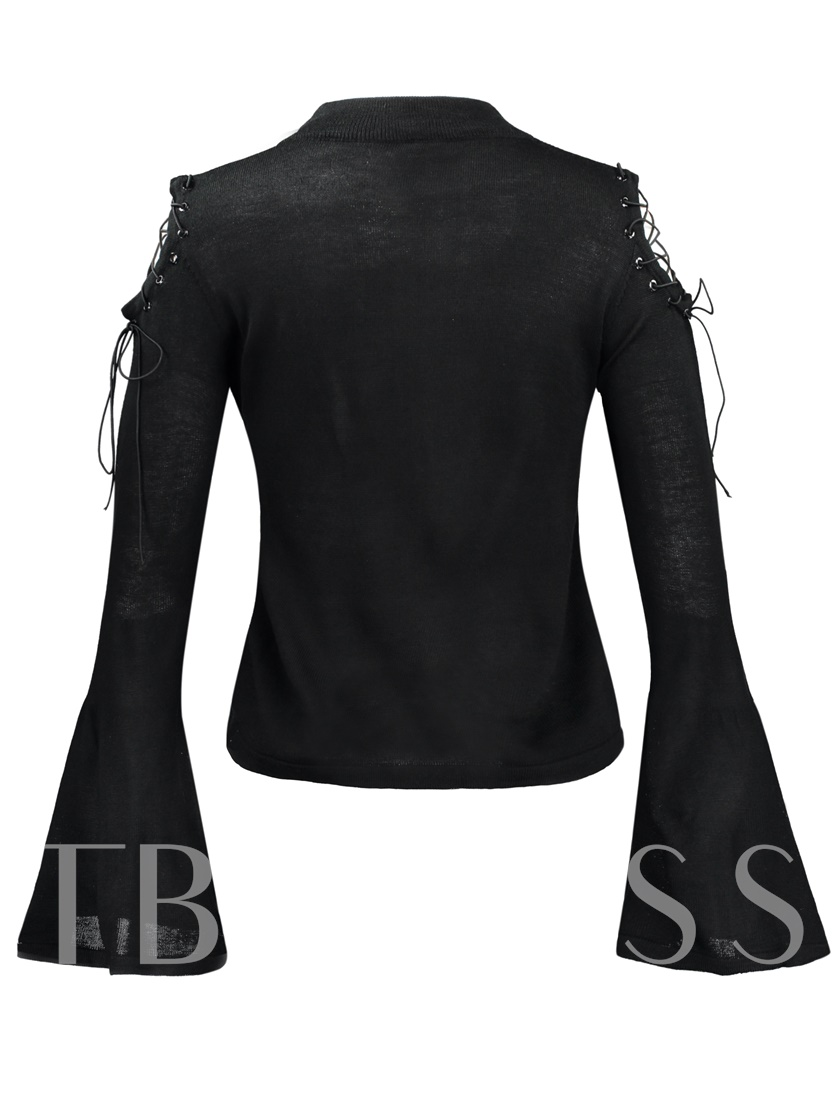 Flare Sleeve Round Neck Lace-up Women's Sweater