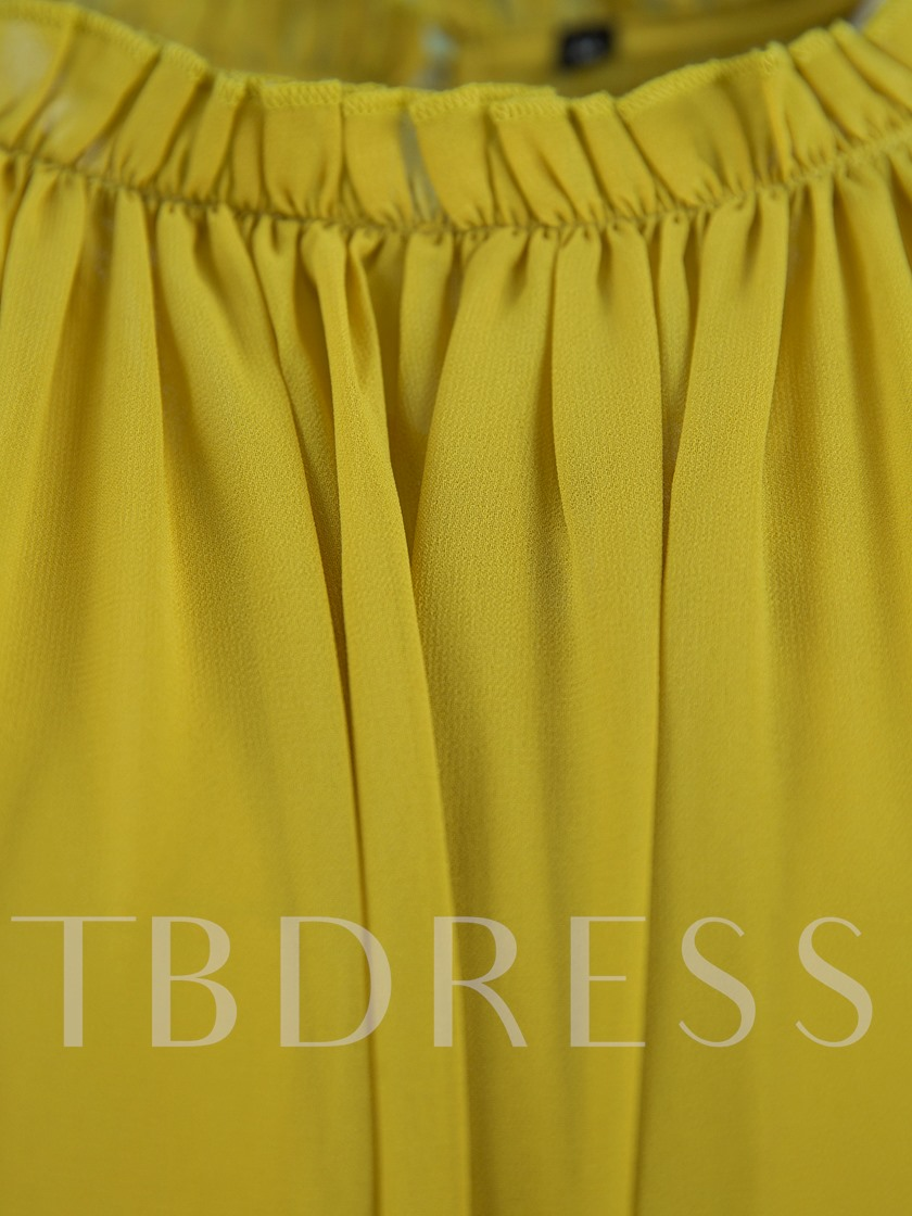 Yellow Chiffon Tiered Women's Day Dress