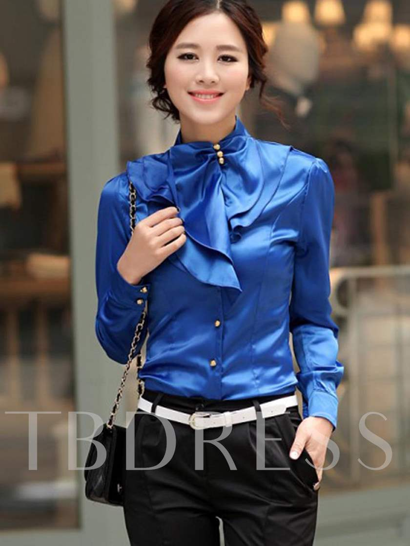 Turtleneck Slim with Falbala and Beads Women's Blouse