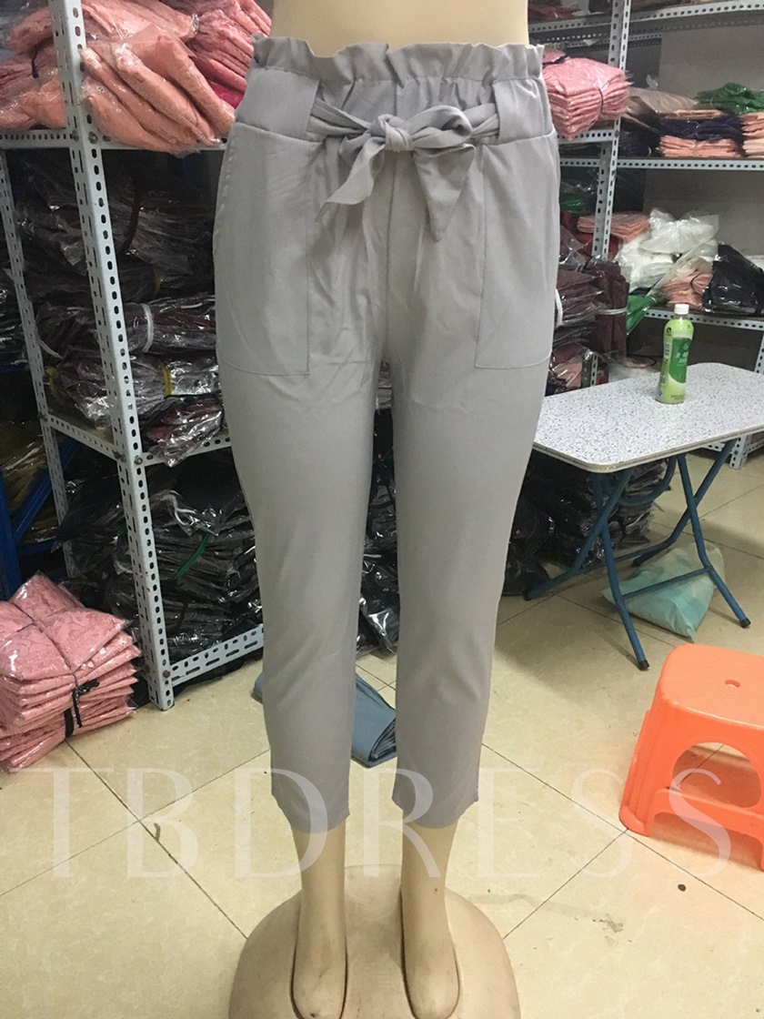 High-Waist Bowknot Women's Tapered Paper Bag Pants