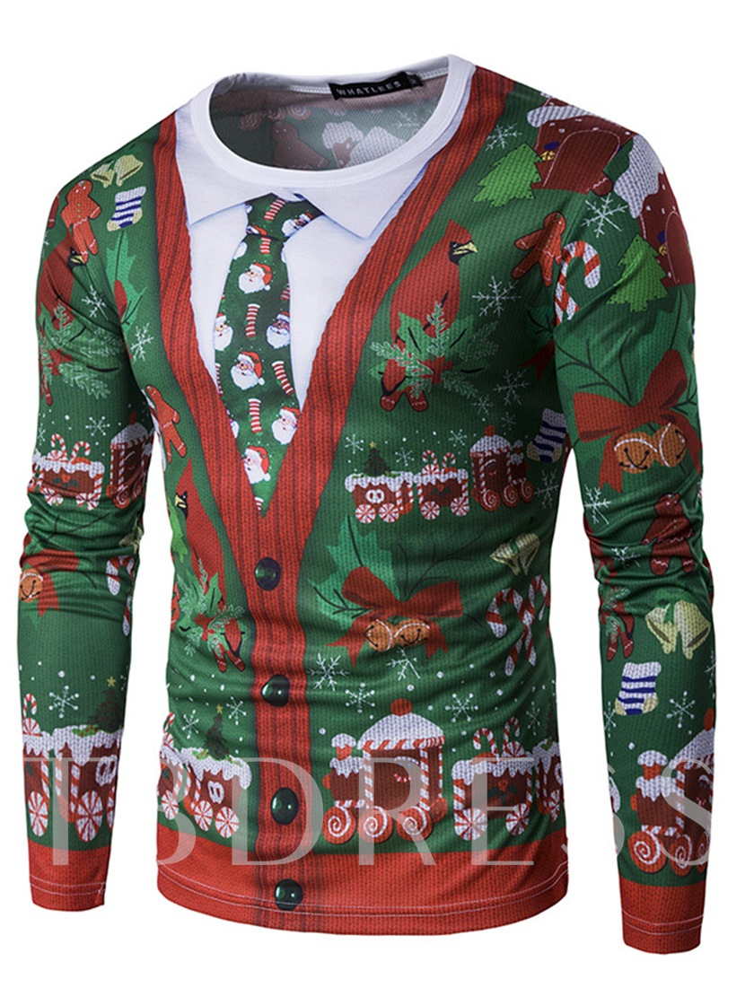Fake Two Piece 3D Christmas Colorful Printed Slim Fit Men's Long Sleeve T-Shirt