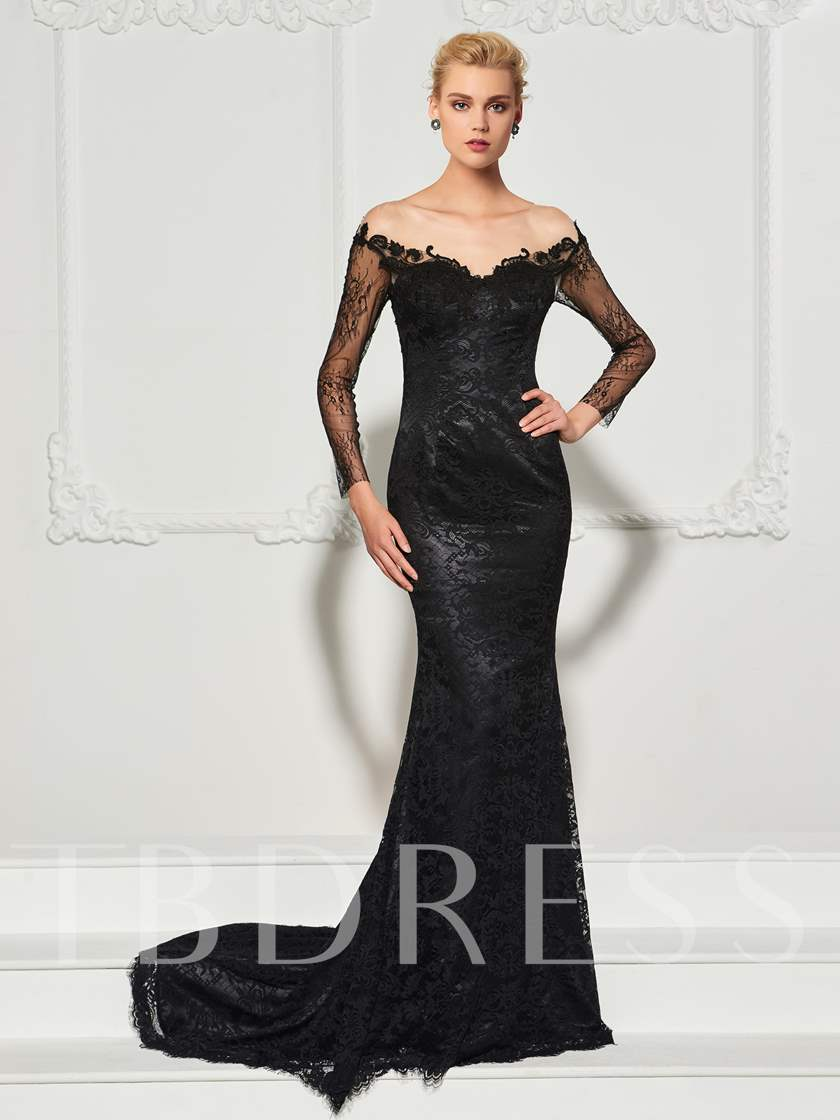 Long Sleeves Sweep Train Evening Dress Sold Out