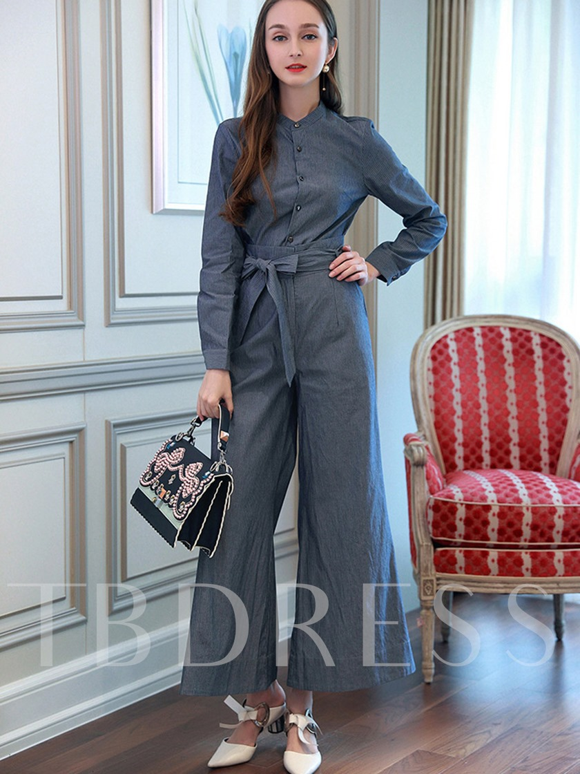 Plain Lace Up Wide Legs Women S Pants Suit Tbdress Com