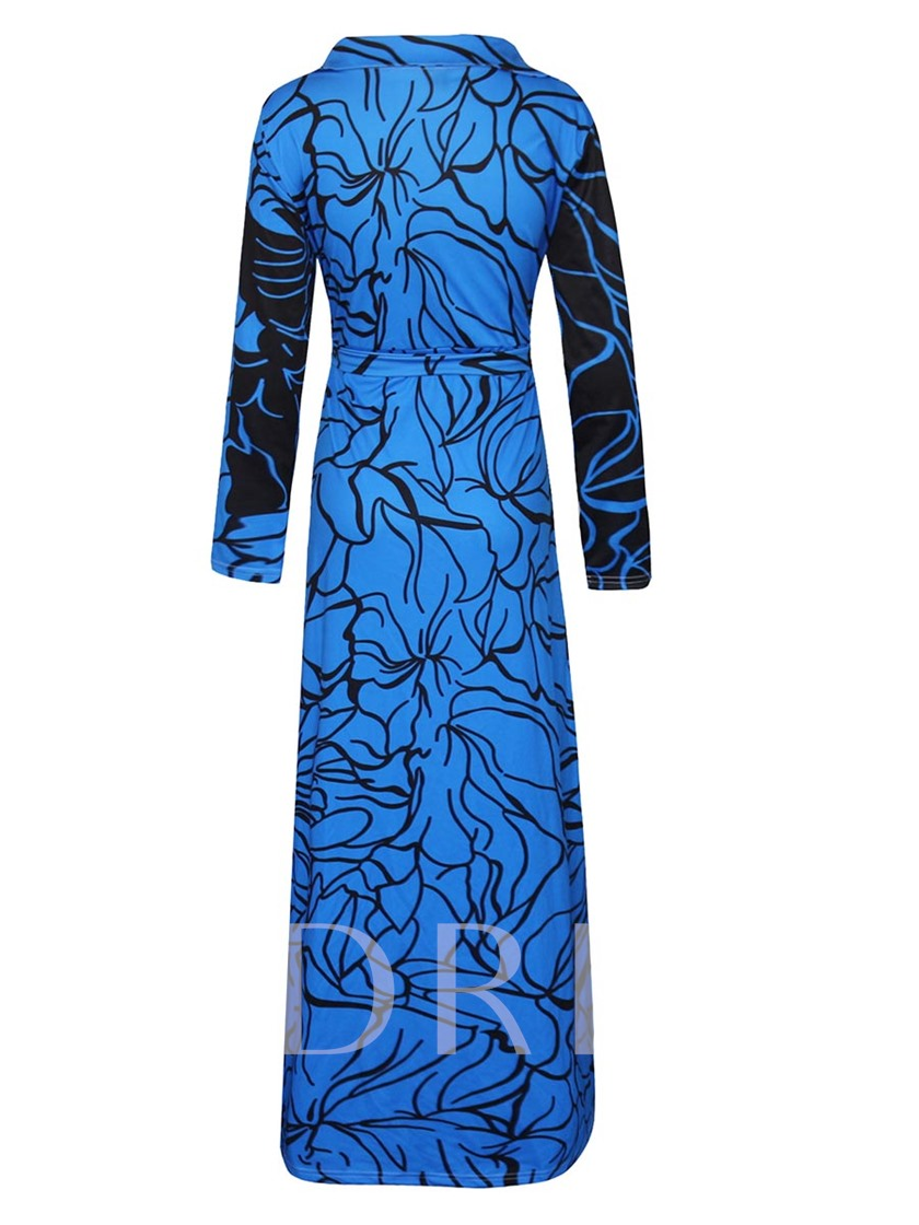 Long Sleeve Blue V Neck Women's Maxi Dress