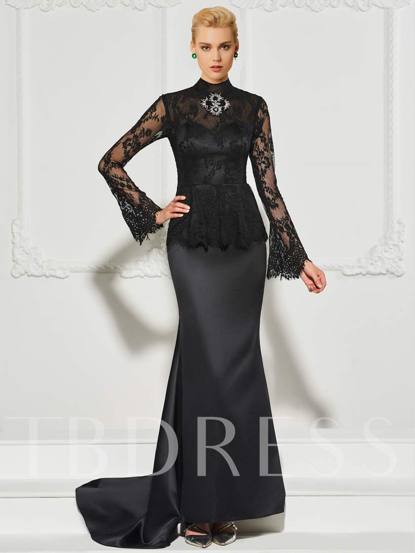 High Neck Beading Lace Long Sleeves Evening Dress