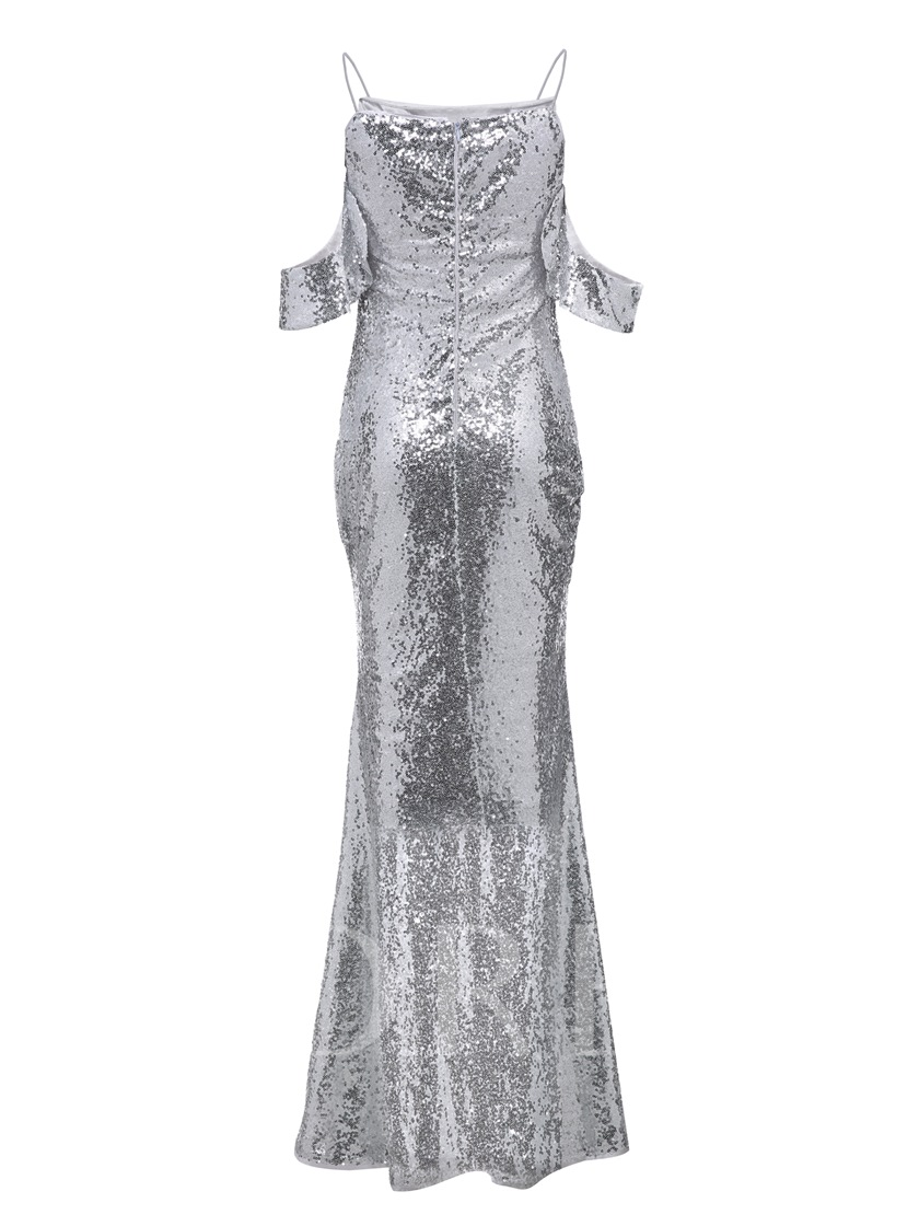 Spaghetti Straps Sequins Mermaid Evening Dress