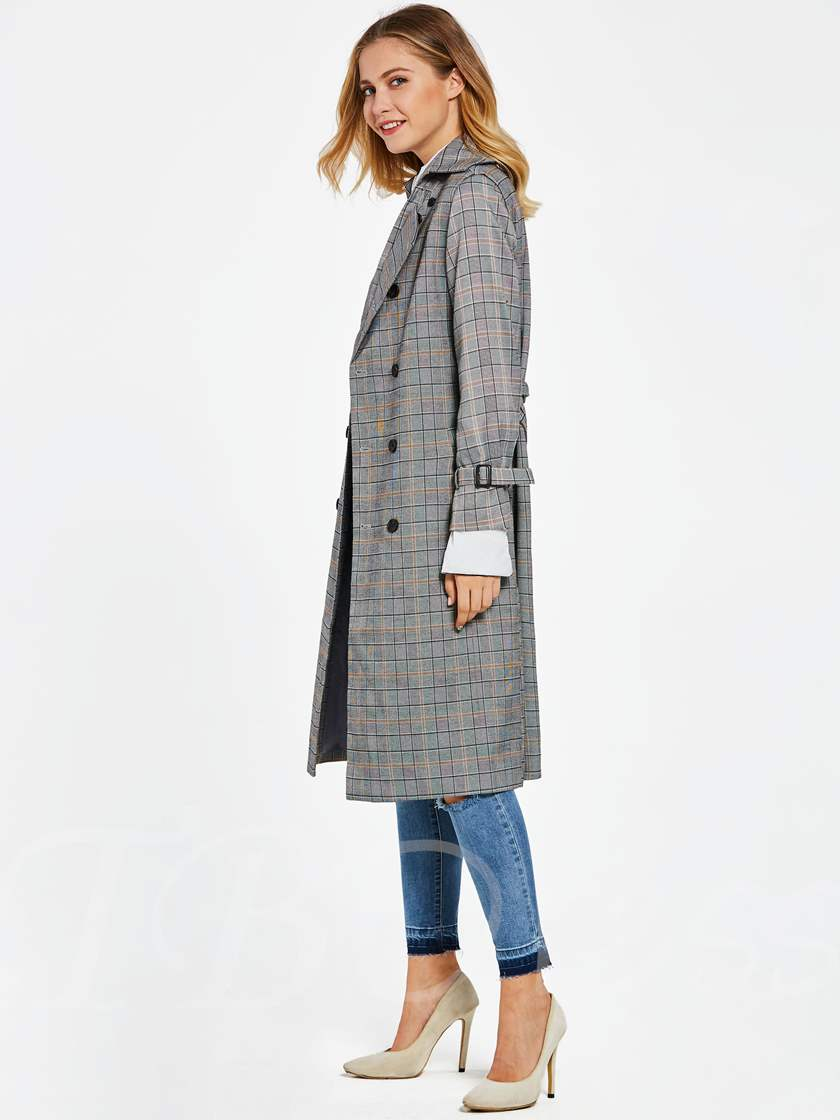 Double-Breasted Lace-up Plaid Women's Trench Coat