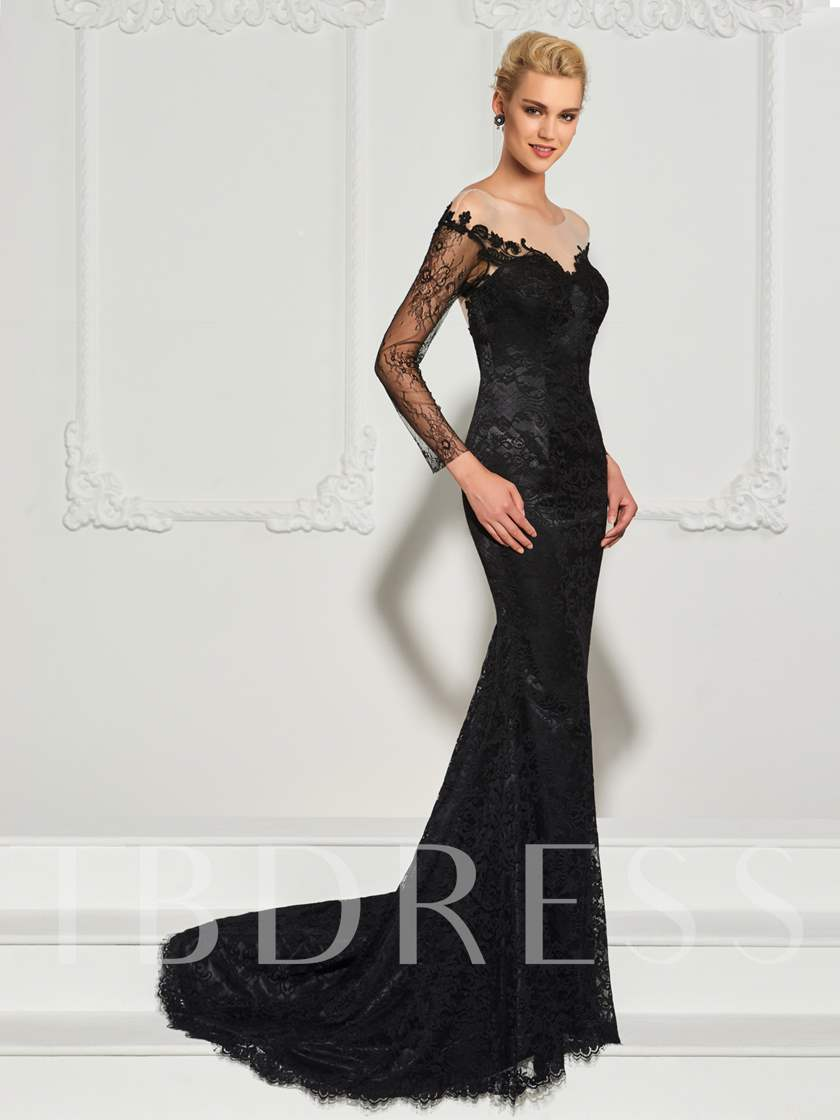 Mermaid Button Lace V-Neck Long Sleeves Sweep Train Evening Dress