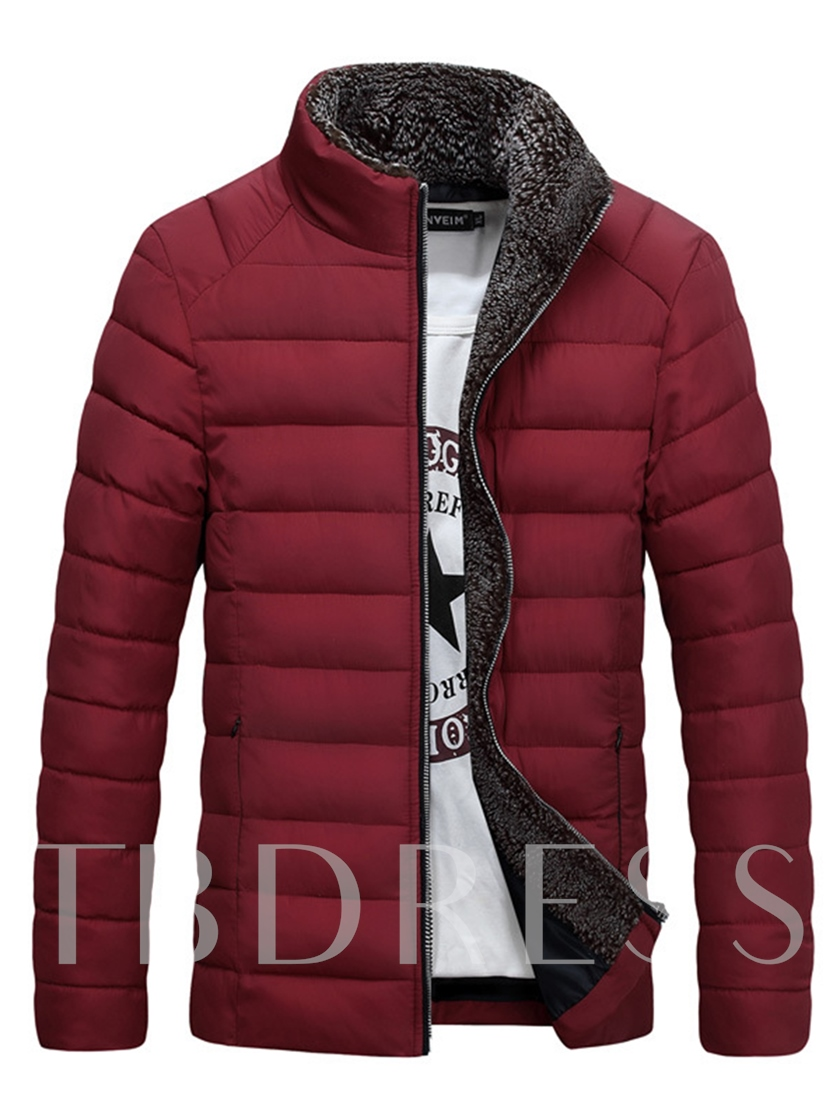 Stand Collar Thicken Warm Zipper Plain Men's Winter Coat