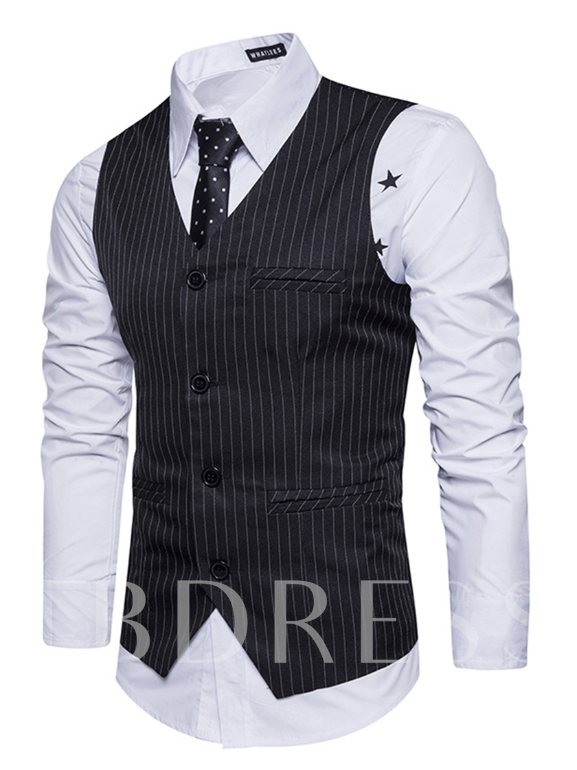 V-Neck Vertical Stripe Single-Breasted Slim Fit Men's Casual Vest