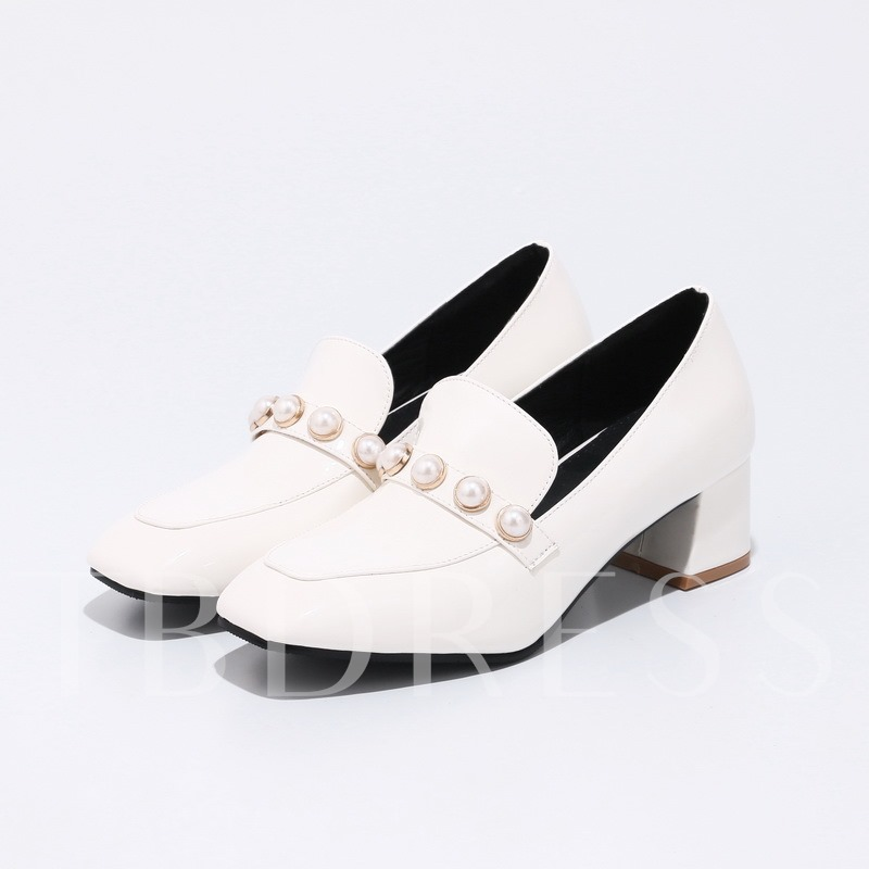 Slip On Pearl Patent Leather Women's Chunky Heel Shoes