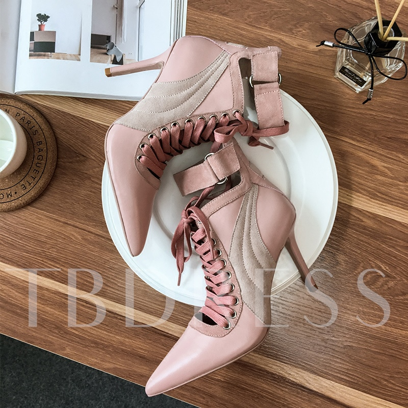 High Heel Patchwork Women's Leather Ankle Boots
