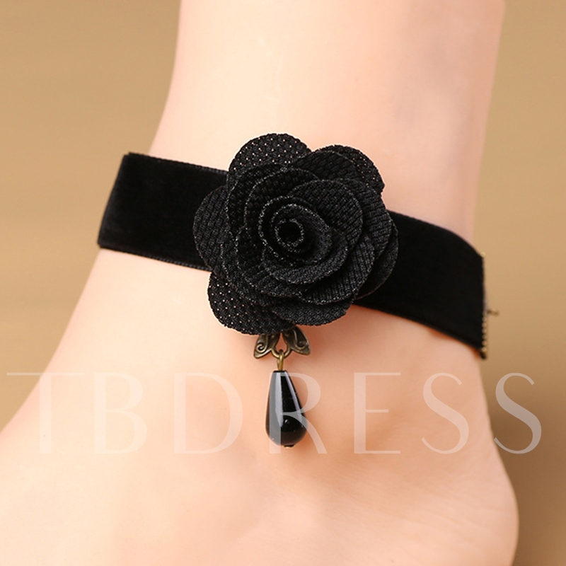 Cloth Black Flower Rhinestone Gothic Anklet
