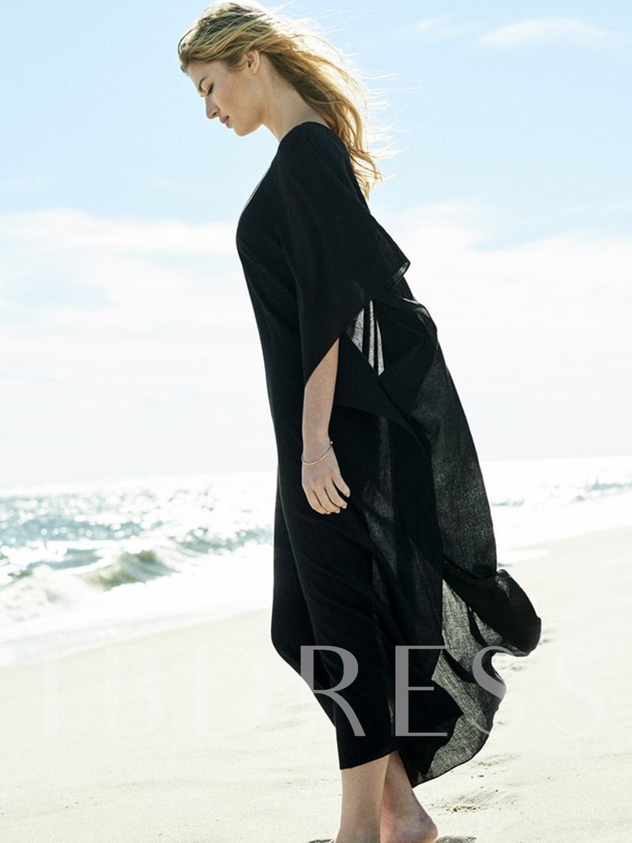 V-Neck Loose Batwing Sleeve Cover-Up