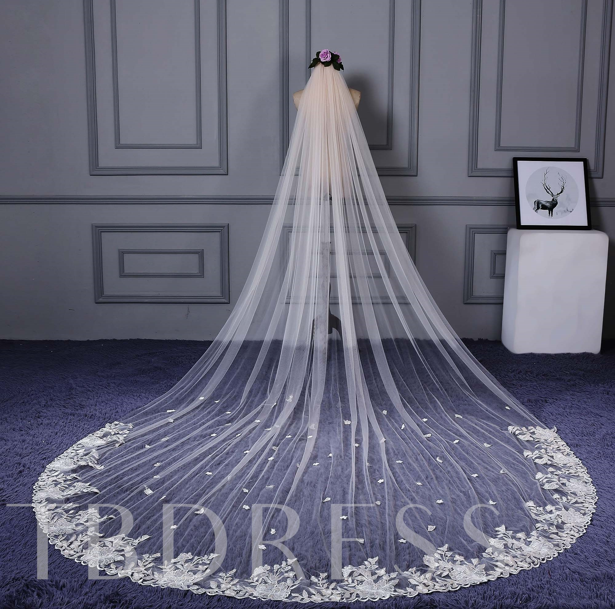 One Layer Appliques Wedding Veil