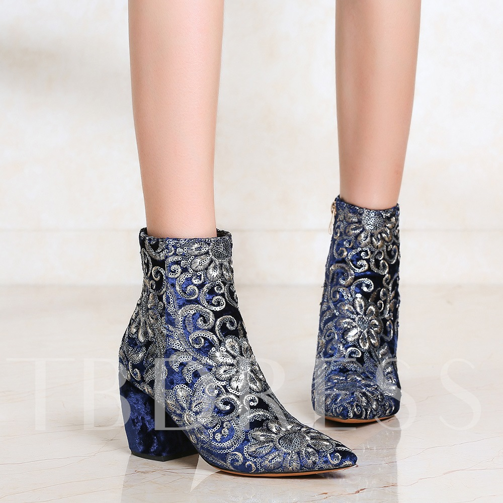 Sequin Chunky Heel Women's Embroidered Ankle Boots