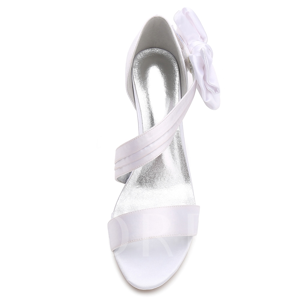 Slip On Heel Covering Bow Women's Shoes for Wedding