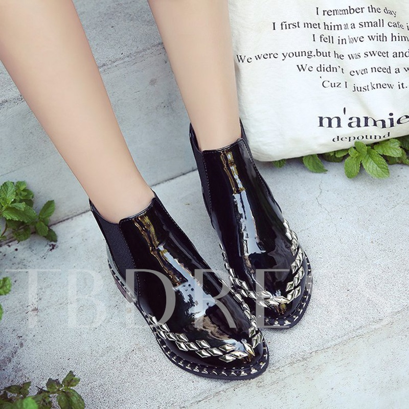 Patent Leather Women's Rivet Black Ankle Boots
