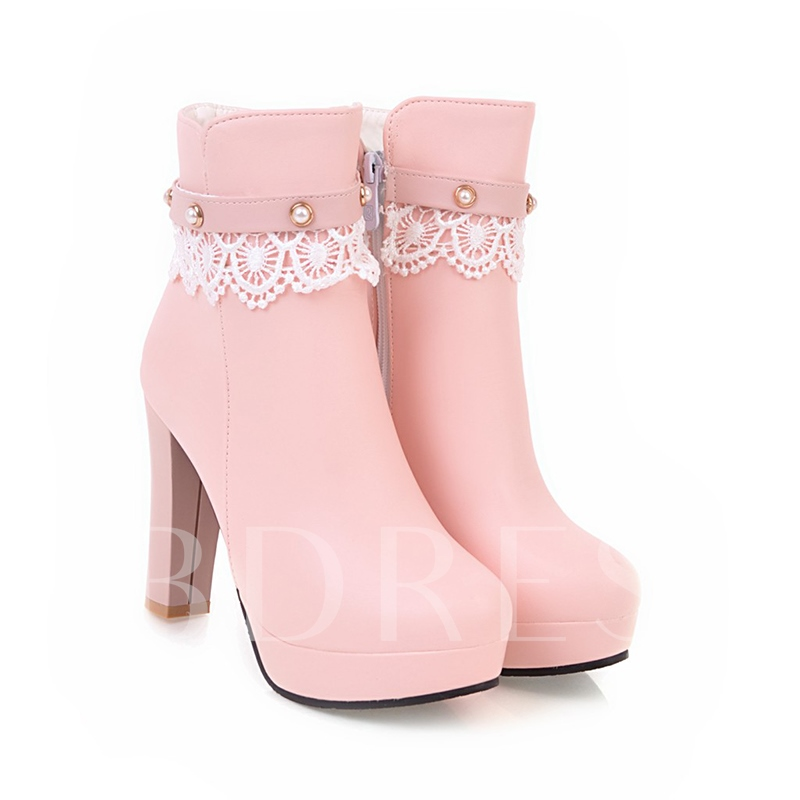 Women's Sweet Boots Lace Beads Platform Shoes