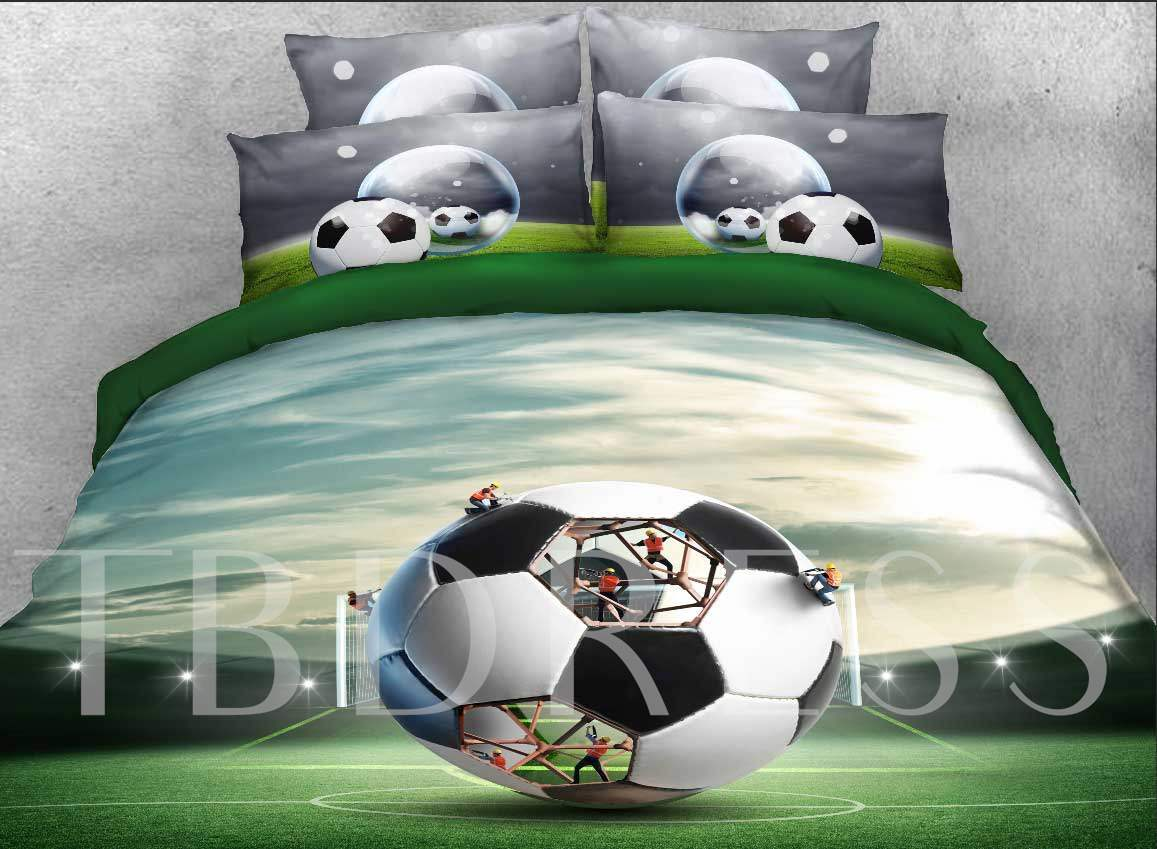 Creative Structure of Soccer Printed Cotton 3D 4-Piece Bedding Sets/Duvet Covers