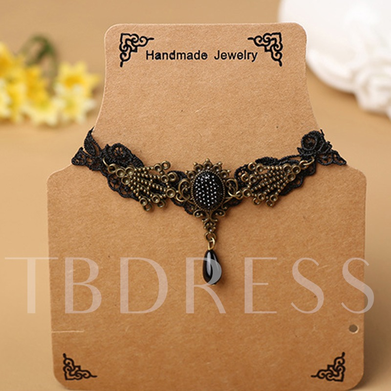 Artificial Pearl Black Lace Gothic Anklet