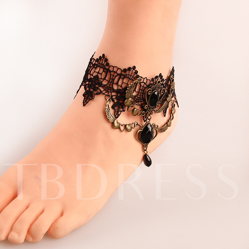 Vintage Hollow Out Lace Gothic Anklet