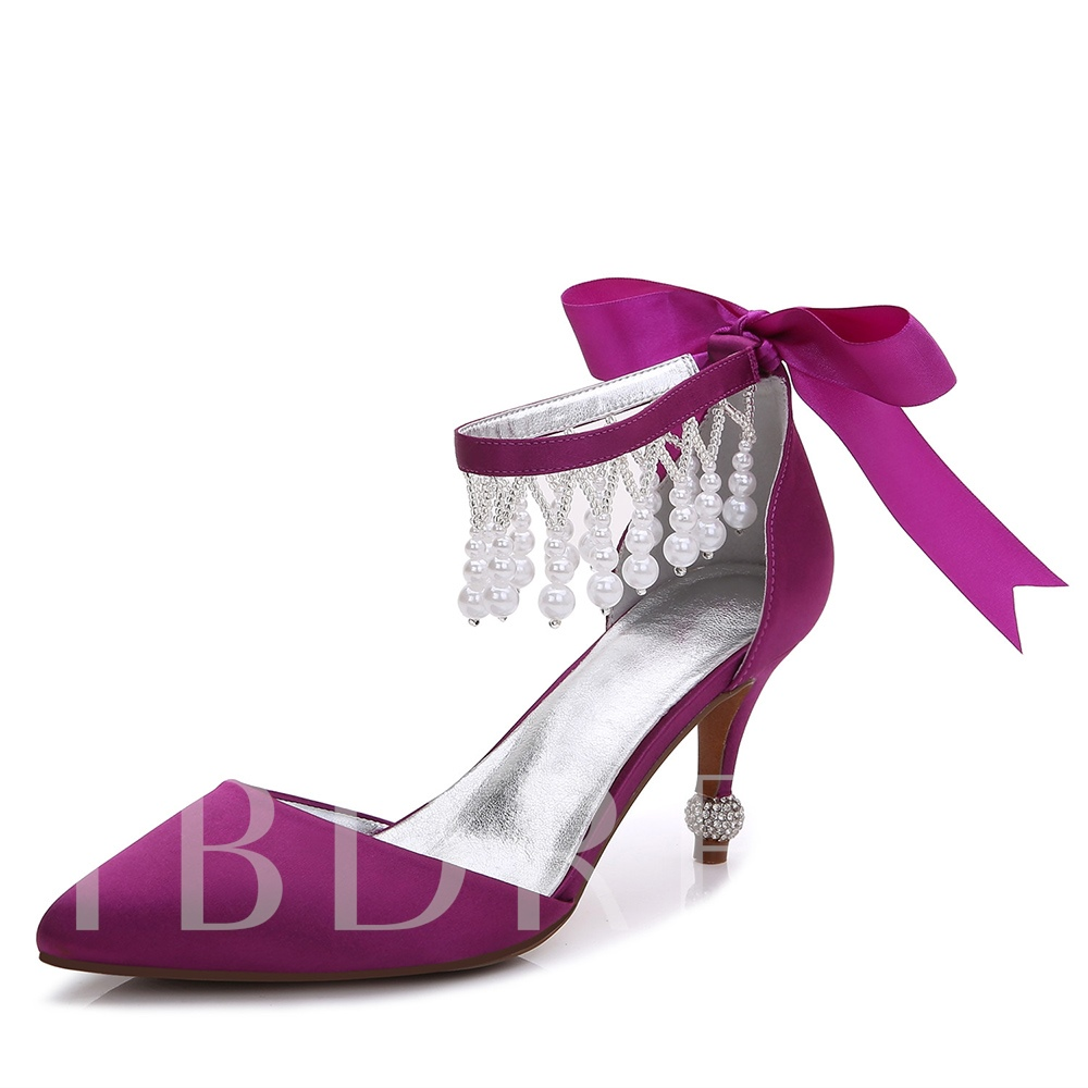 Multiple Color Bow Rhinestone Beads Women's Wedding Shoes