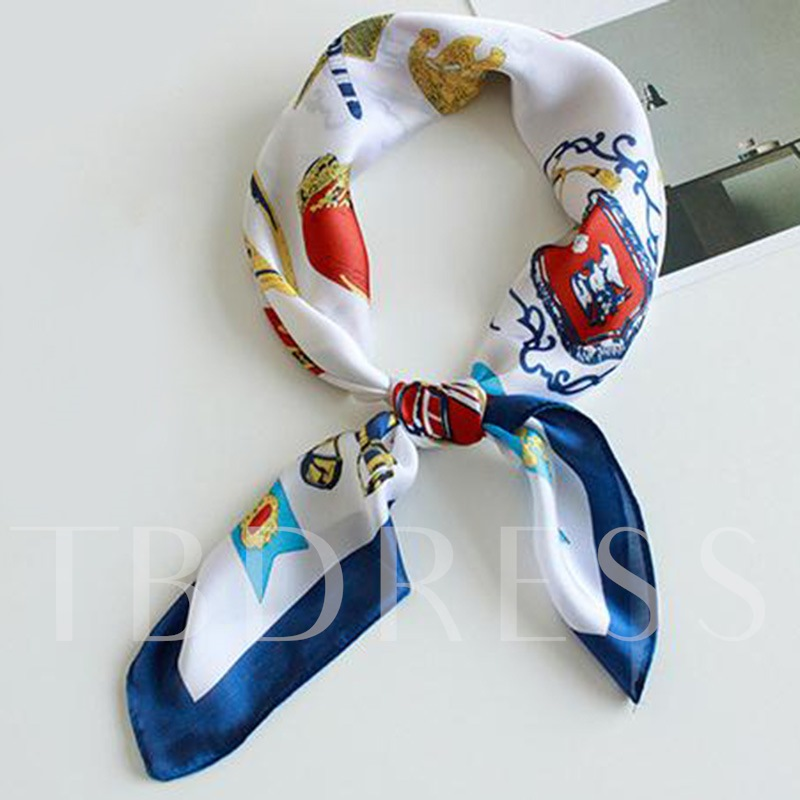 Thin Charmeuse Printing Pastoral Cartoon Scarfs