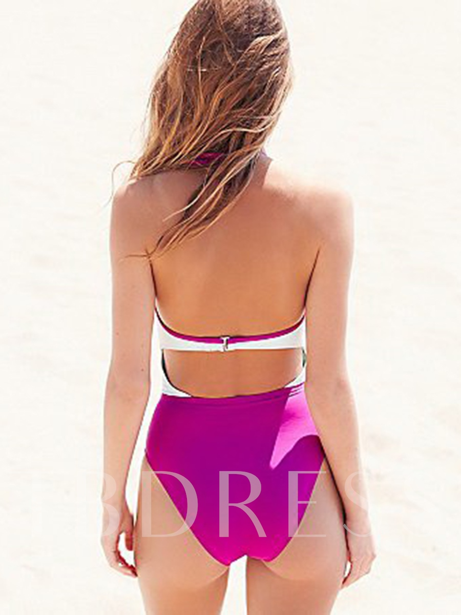 Color Block Pleated Midriff-Baring One Piece Swimsuit