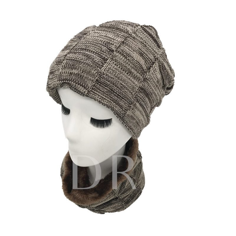 Plaid Pattern Simple Knitted Scarf&Hats
