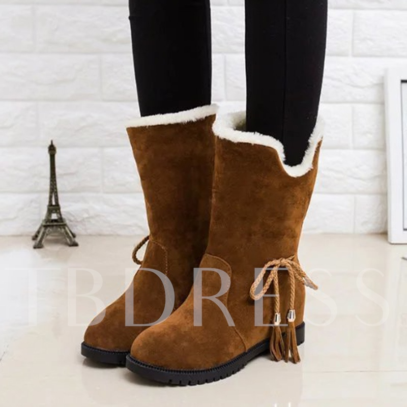 Solid Suede Lace Up Height Increasing Women's Half Boots